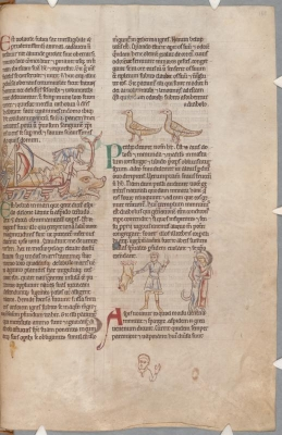 Кит, куропатки, аспид. Рукопись библиотеки Паркера (CCC, Ms.22, fol.168r.)