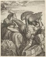 Орел клюёт печень Прометея. Гравюра Корнелиса Корта, 1566