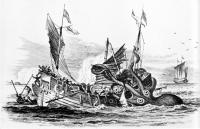 """""""Колоссальный пульп атакует купеческое судно"""". Гравюра Пьера Дениса де Монфорта, 1810 год"""