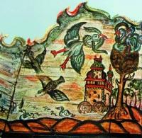 Дерево познания с гнездом. Фрагмент росписи Могилевской синагоги на Школище
