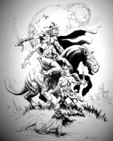 Джон Картер спасает Дею Торес. Иллюстрация Дона Маркеса (2001)