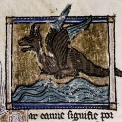 Дракон над водами Евфрата. Рукопись Бодлеянской библиотеки MS Douce 308, fol.105r.