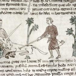 Охотники убивают единорога. Рукопись Бодлеянской библиотеки (MS Douce 88, fol.086r.)