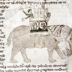 Слон с осадной башней на спине. Рукопись Бодлеянской библиотеки (MS Douce 88, fol.087v.)