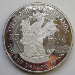 The Red Dragon of Wales. Монета в 20 крон Тёркс и Кайкос (1978)