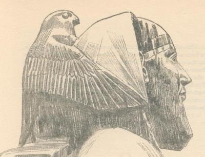 Бог Гор в виде сокола защищает фараона Хефрена. Книжная прорисовка статуи