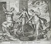 """Эрихтоний появляется из корзины. Рисунок Антонио Темпеста (1606) к """"Метаморфозам"""" Овидия"""