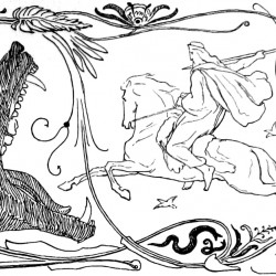 Бой Одина и Фенрира на рисунке Лоренца Фрёлиха