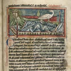 Харадр поворачивается к больному (Рукопись Британской библиотеки MS Harley 4751, fol. 40r)