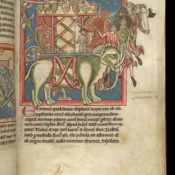 Слон с осадной башней на спине (Рукопись Британской библиотеки MS Harley 4751, fol. 8r)