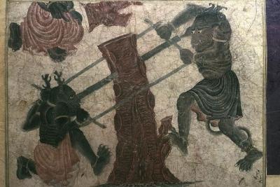 Демоны пилят дерево. Рукопись библиотеки дворца Топкапы в Стамбуле (Hazine 2153, fol. 141r.)