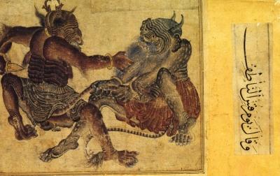 Сражающиеся демоны. Рукопись библиотеки дворца Топкапы в Стамбуле (Hazine 2153, fol. 37v.)