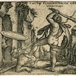 Геркулес убивает огнедышащего Кака. Гравюра Себальда Бехама (1545)