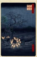 """""""Кицунэ-би в новогоднюю ночь под деревом Эноки в Одзи"""", гравюра Хиросигэ, 1857 год"""