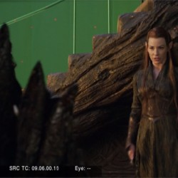 Эванджелин Лилли в роли эльфийки. Кадр со съемок второго «Хоббита»