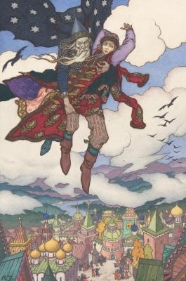Кощей Бессмертный похищает Марью Моревну. Иллюстрация Бориса Зворыкина, примерно 1925 год