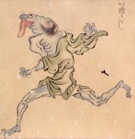 Исогаси. Фрагмент свитка «Хякки ягё эмаки», эпоха Муромати