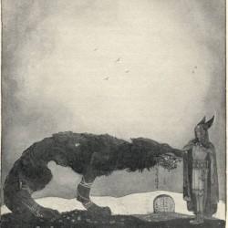 Тюр и Фенрир на иллюстрации Йона Бауэра (1911)