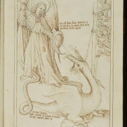 Святой Михаил и дракон. Рукопись Национальный библиотеки Нидерландов (KB, 128 C 4, fol. 28r.)
