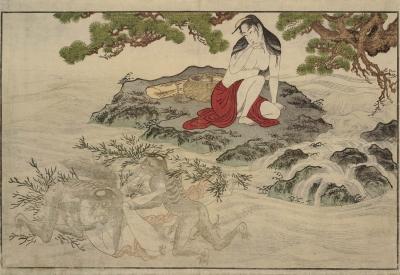 Каппы нападают на ныряльщицу. Автор гравюры (предположительно) Кацусика Хокусай