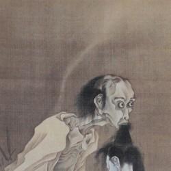 Призрак мужчины с отрубленной головой в зубах. Автор рисунка Каванабэ Кёсай