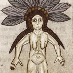 Мандрагора, женский вариант. Иллюстрация из медицинского гербария XI века (MS. Ashmole 1462, f. 67r)
