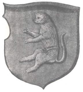 """Герб """"Морской кот"""". Изображение из """"Stemmata Polonica"""" в обработке Елены Полачковной (1927)"""