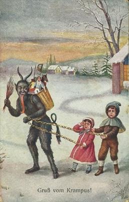 Крампус уводит непослушных детей. Открытка начала XX века