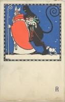Открытка с с изображением святого Николая и Крампуса, 1909 год