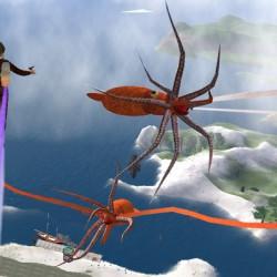 "Летающие кракены из игры ""Steamlander: Lands of Steam and beyond"""