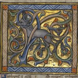 Анталоп, запутавшийся рогами в ветвях. Рукопись музея Гетти в Лос-Анджелесе (MS. Ludwig XV 3, fol.69r.)
