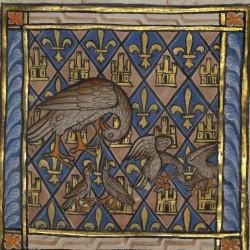 Пеликан, кормящий птенцов. Рукопись музея Гетти в Лос-Анджелесе (MS. Ludwig XV 3, fol.72r.)