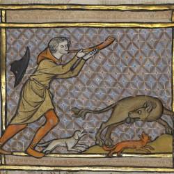 Охотник и бобёр, откусывающий себе яички. Рукопись музея Гетти в Лос-Анджелесе (MS. Ludwig XV 3, fol.71r.)