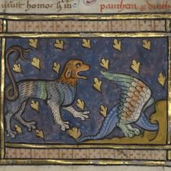 Пантера и дракон. Рукопись музея Гетти в Лос-Анджелесе (MS. Ludwig XV 3, fol.88r.)