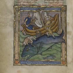 Моряки и кит (аспидохелон). Рукопись музея Гетти в Лос-Анджелесе (MS. Ludwig XV 3, fol.89v.)