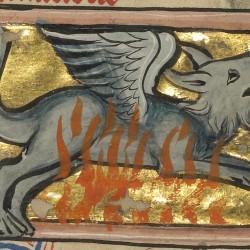 Саламандра. Рукопись музея Гетти в Лос-Анджелесе (MS. Ludwig XV 4, fol.100v.)