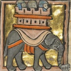 Слон с осадной башней на спине. Рукопись музея Гетти в Лос-Анджелесе (MS. Ludwig XV 4, fol.104r.)