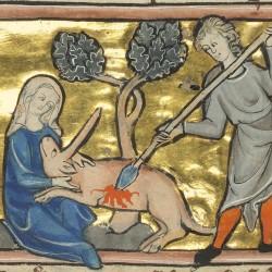 Охотник убивает единорога. Рукопись музея Гетти в Лос-Анджелесе (MS. Ludwig XV 4, fol.85v.)