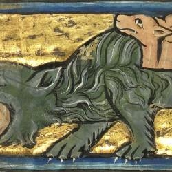 Гидрус убивает крокодила. Рукопись музея Гетти в Лос-Анджелесе (MS. Ludwig XV 4, fol.88v.)