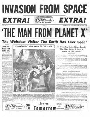 "Реклама к фильму  ""Пришелец с планеты Икс"" (The Man from Planet X, 1951)"