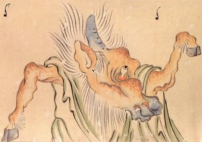 Мумасика. Фрагмент свитка «Хякки ягё эмаки», эпоха Муромати