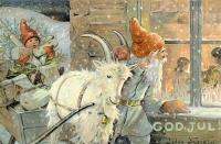 Ниссе-томте. Рождественская открытка с иллюстрацией Йенни Нюстрём (до 1946)