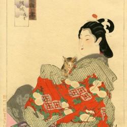Женщина и микэнэко. Автор рисунка Огата Гэкко