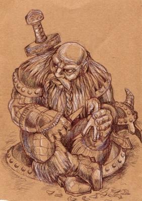 Гном. Иллюстрация Ивана Онякова к книгам Анджея Сапковского