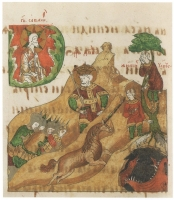 Притча о единороге. Миниатюра Годуновской Псалтири, 1591 год