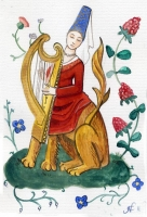 Дама-леонтокентавр. Современная иллюстрация на тему миниатюр из фландрского манускрипта XV века