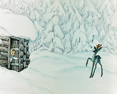 """Серебряное копытце и Дарёнка. Кадр из мультфильма """"Серебряное копытце"""" (1977)"""