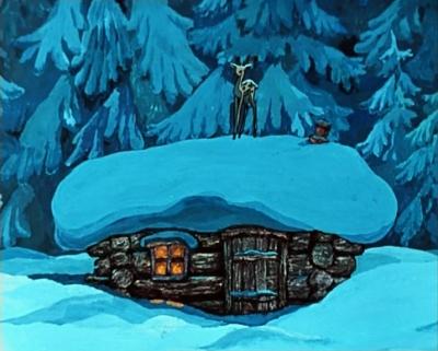 """Серебряное копытце на крыше. Кадр из мультфильма """"Серебряное копытце"""" (1977)"""