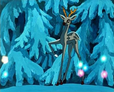 """Серебряное копытце выбивает ножкой дорогие камни. Кадр из мультфильма """"Серебряное копытце"""" (1977)"""