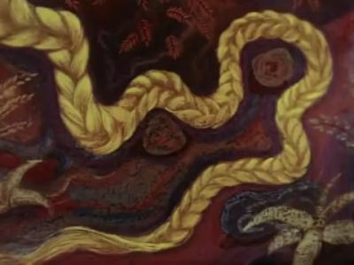 """Коса Полозовой дочери по имени Золотой Волос. Кадр из мультфильма """"Синюшкин колодец"""" (1973)"""